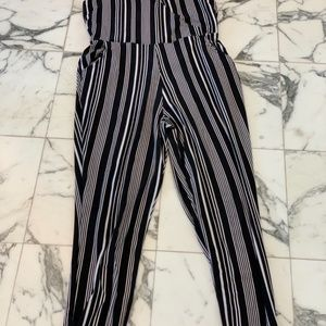 Women's Striped Jersey Jogger Jumpsuit Lg